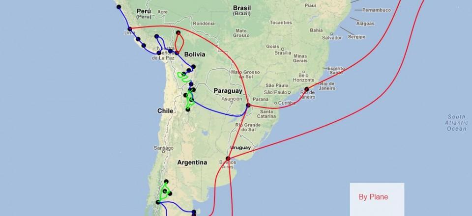 Routekaartje Zuid-Amerika 2012