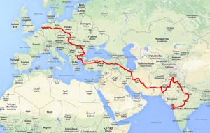 Route overland Nederland India 2014 - Idee